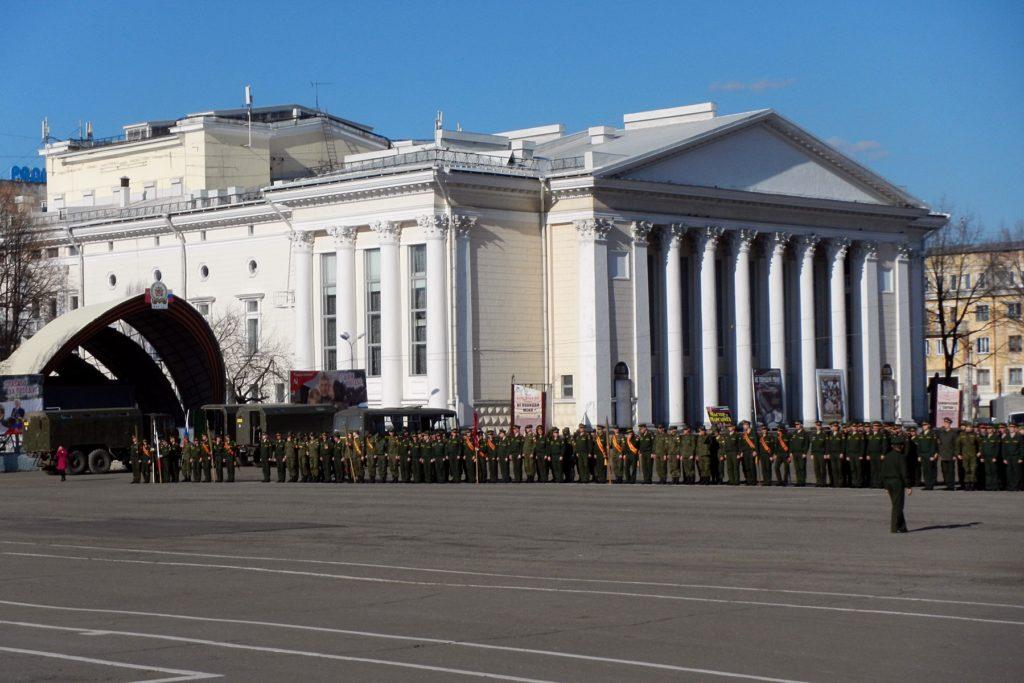 Построение личного состава на репетиции парада Победы - 2015