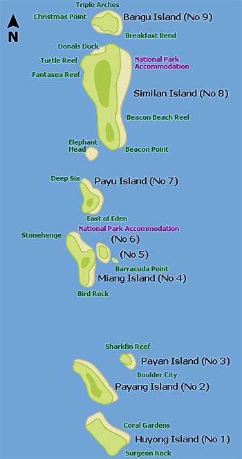 Карта-схема Симиланских островов