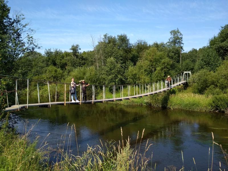 Подвесной мост через Ивикну у санатория Сосновый бор