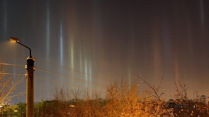 Световые столбы над городом (световой лес)