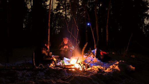Костёр в ночном зимнем лесу